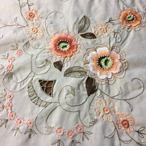 Vintage Antique embroidered Tablecloth extra long